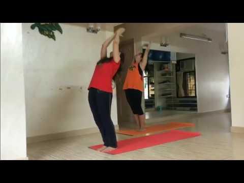power yoga surya namaskar sun salutation with namaste