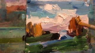 Oil painting. Autumn landscape.  Miniature paintings. Large brush stroke.