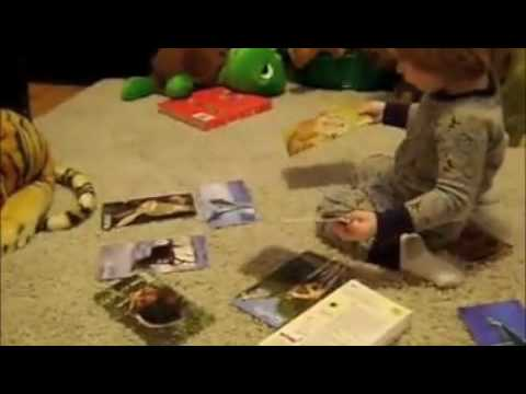 14 month old with flash cards youtube