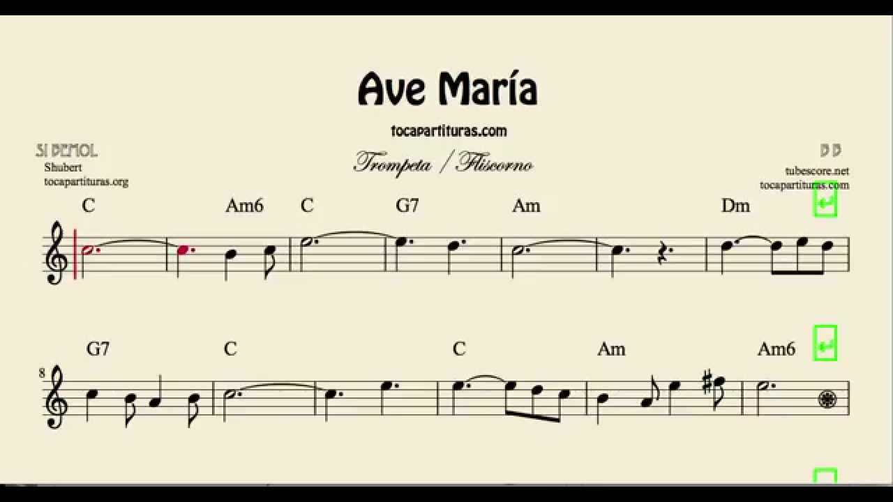 Ave María Sheet Music for Trumpet and Flugelhorn with Chords - YouTube