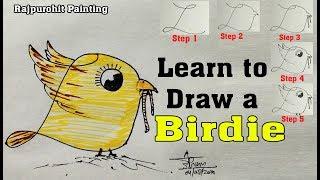 Karikatür Kuş içine Mektup ''L'' Açmak İçin nasıl Kuş adım adım Öğrenmek #