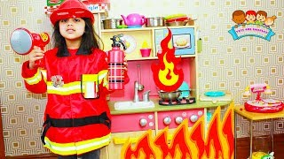 Cutie and Ashu Play Firefighter Skit with Fire Truck Toys for Kids | Katy Cutie Show