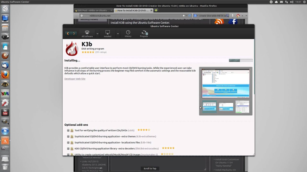 How To Install K3B CD DVD Creator On Ubuntu 13 04