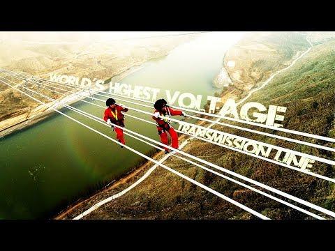 "Live: World's highest voltage transmission line 世界最高电压输电线路正在""走线"""