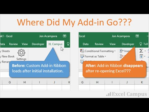How to Fix the Disappearing Add in Ribbon Menu Bar in Excel