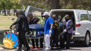 Family and friends pay their respects for Dion Johnson as he's laid to rest.