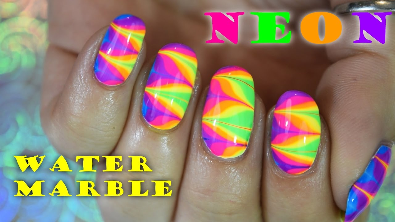 Super Chunky Neon Water Marble | DIY Nail Art Tutorial - YouTube