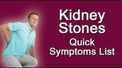 Kidney Stones - Quick Symptoms List