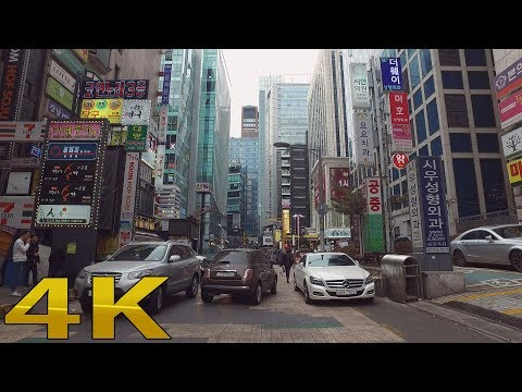 Walking around Gangnam Station 江南駅 4k