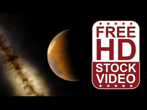 FREE HD video backgrounds – space planets Mars rotating in deep space with stars 3D animation