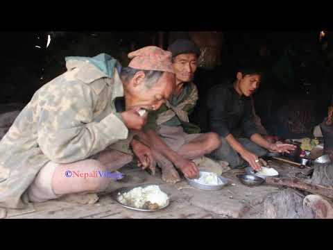 Cooking Curry of dry meat and Eating food together at night time in village ll Making sauce