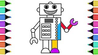 How to Draw Robot Coloring Book | Coloring Pages for Kids with Colored Markers