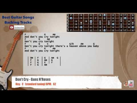 Don't Cry - Guns N'Roses Guitar Backing Track with vocal, chords and lyrics