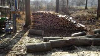 Holz spalten mit Hilfe einer Forstseilwinde