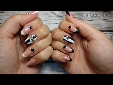 Дизайн ногтей френч белый со стразами