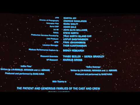 Ending credits of The Force Awakens!