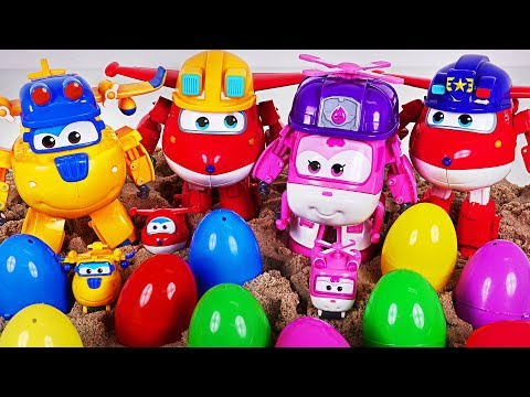 Super Wings police, build-it Jett, Donnie, Dizzy! Take the surprise eggs buried in sand! #DuDuPopTOY