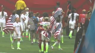 Alex Morgan, Kelley O'Hara, Ashlyn Harris, Abby Wambach and Hope Solo hug / WWC FINAL vs Japan