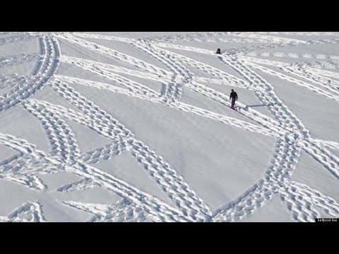 Man Creates Amazing Snow Art With Footprints