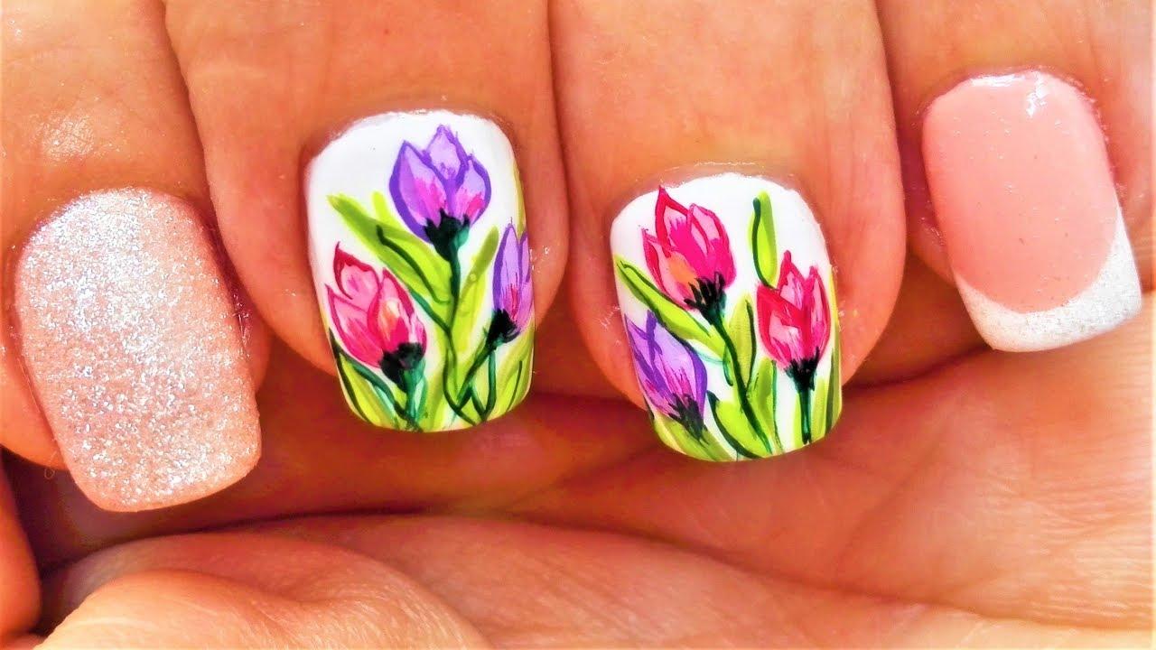 Diseno De Unas Cortas Tulipanes Diseno De Unas Tulipanes Diseno