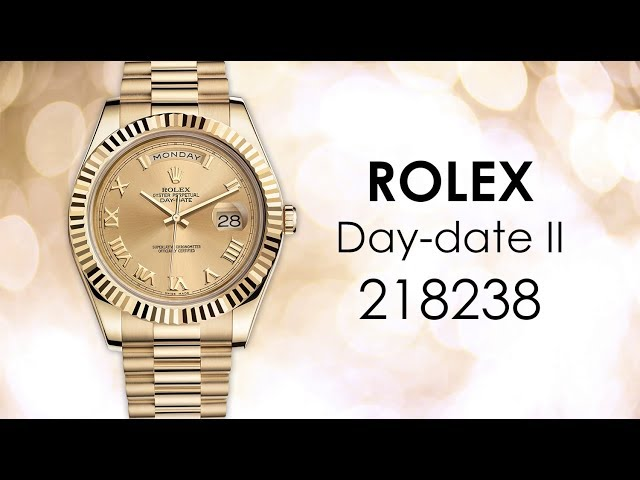 NEW Rolex Day-date II Champagne Automatic 18kt Yellow Gold Mens Watch 218238