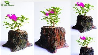 creative tree stump Cement Planter | Hand Made Tree Stump Flower Pot | DIY Planter//GREEN PLANTS