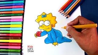 How to draw MAGGIE SIMPSON   Cómo dibujar a la bebé Maggie de Los Simpsons