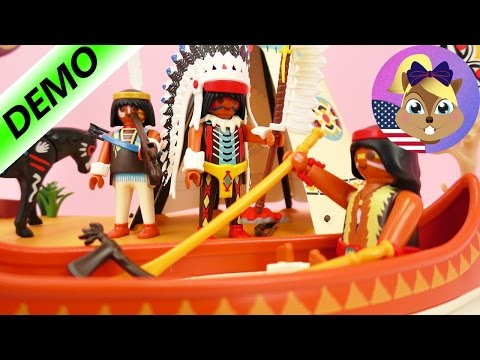 PLAYMOBIL COWBOYS AND INDIANS | Indian Camp with Campfire, Canoe, and Tipi | Demo