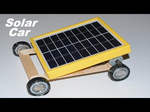 How to make a Solar Powered Toy Mini Electric Motor Car on Bearings - Two DC Motor | Pop Sticks
