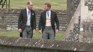 Kate, Will and Harry arrive at Pippa's wedding