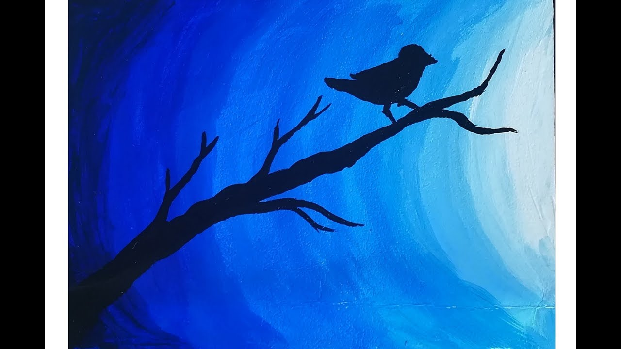 Easy Poster Color Painting On Canvas Bird In Moonlight Postercolor