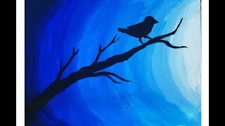 Easy poster color painting on canvas | bird in moonlight postercolor painting