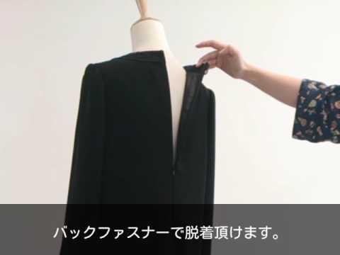 GOLDJAPAN 大きいサイズ専門店胸元タック入りブラックフォーマルワンピース LL6L