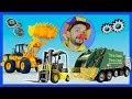 Funny Clown Bob | Learn Construction vehicles Garbage Truck Bulldozer Forklift | Video for kids