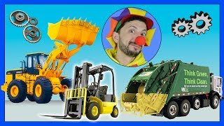 Funny Clown Bob   Learn Construction vehicles Garbage Truck Bulldozer Forklift   Video for kids