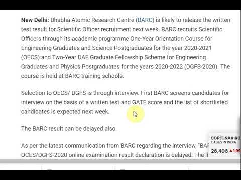 BARC Likely To Release Scientific Officer Result Next Week