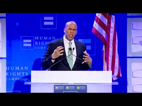 Sen. Cory Booker Speaks to HRC Volunteers