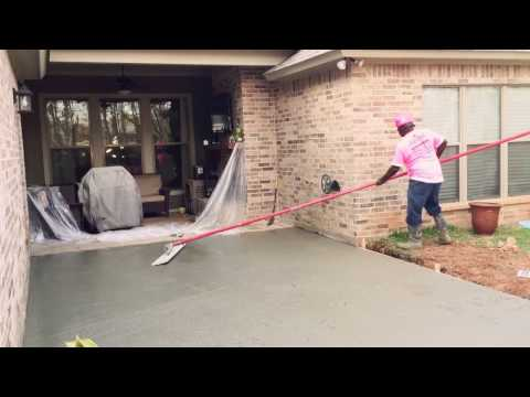 Best How To Bull Float Concrete Patio Installation--iConcrete Construction Breast Cancer Awareness