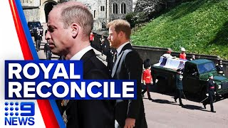 Prince Philip's funeral: Princes Harry and William reconcile at funeral | 9 News Australia