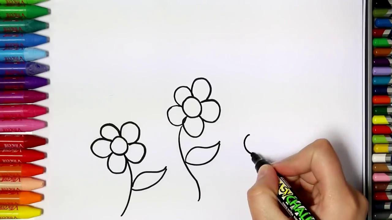 Cara menggambar bunga - YouTube