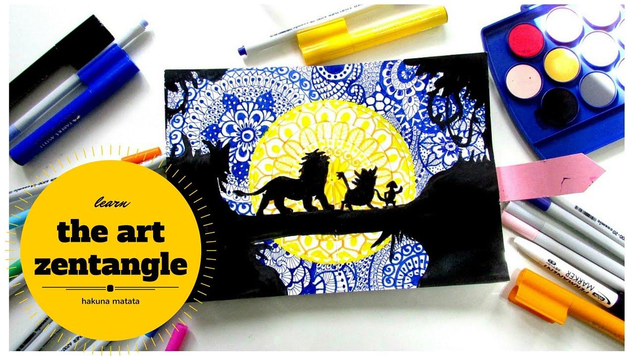 How to draw Zentangles in Silhouette Art // HAKUNA MATATA// - YouTube
