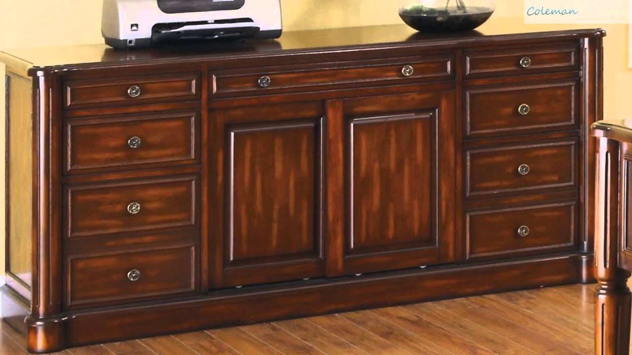 peterson walnut credenza home office collection from coaster furniture youtube