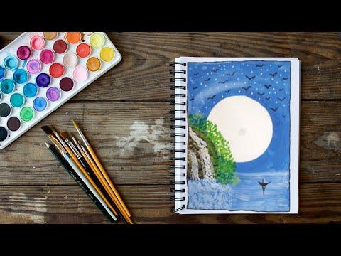 Easy Night Scenery Painting | Dheer Krishna
