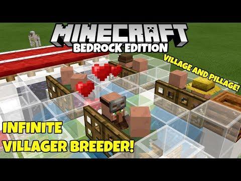 Minecraft Bedrock: WORKING Infinite Villager Breeder! Village And Pillage Update!