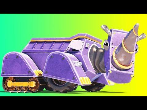 AnimaCars - THE RHINOCEROS DUMP TRUCK ! - cartoons for kids with trucks & animals