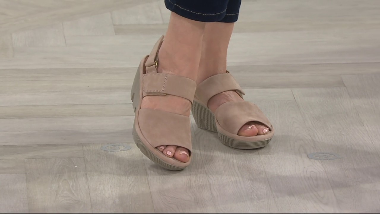 e82a12c8680 Clarks Artisan Leather Wedge Sandals - Clarene Allure on QVC - YouTube