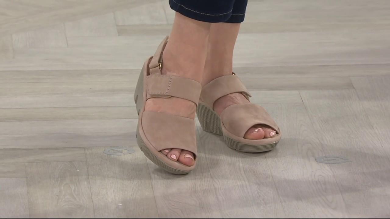 e42cbf4ebca Clarks Artisan Leather Wedge Sandals - Clarene Allure on QVC - YouTube