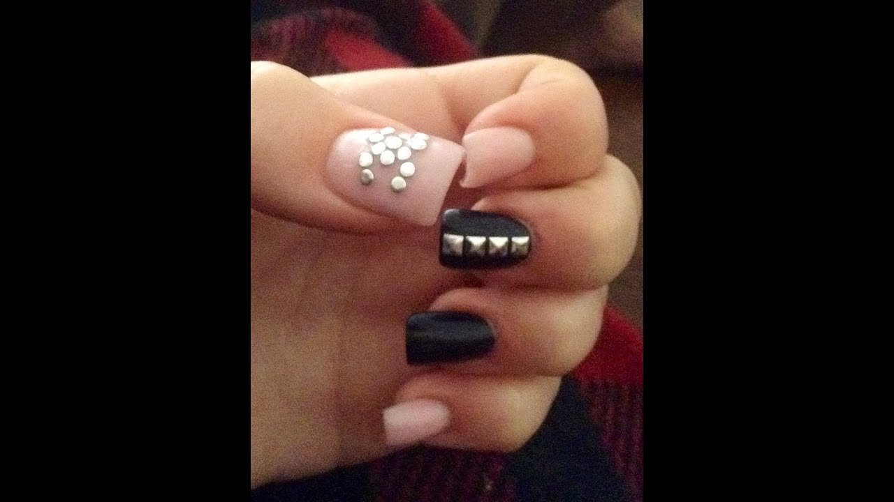 Chanel Designer Acrylic Nails *light pink and black* - YouTube