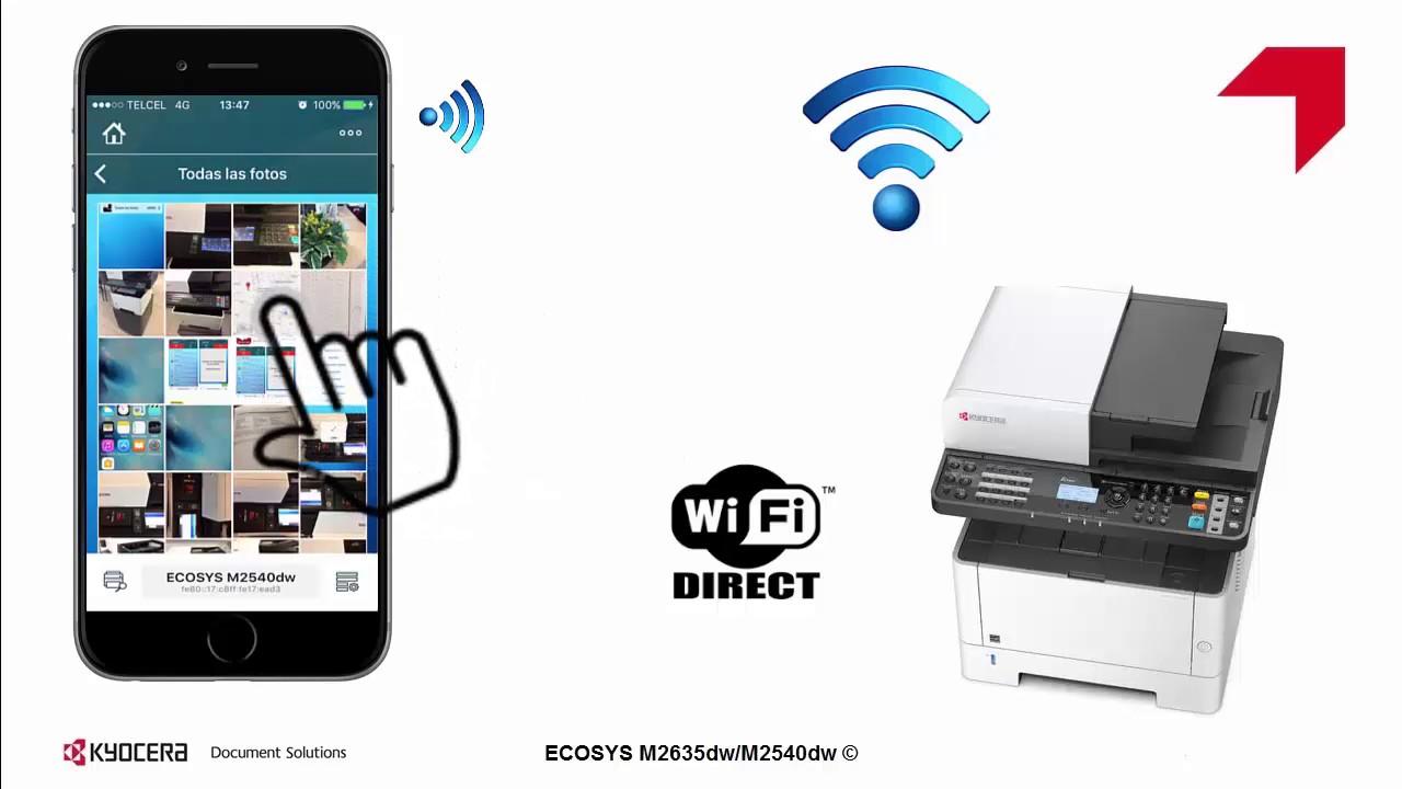 ECOSYS M2635dw M2540dw Configuraci³n WiFi direct usando KYOCERA Mobile Print