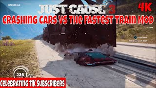 Just Cause 3 Crashing Cars Vs the Fastest Train